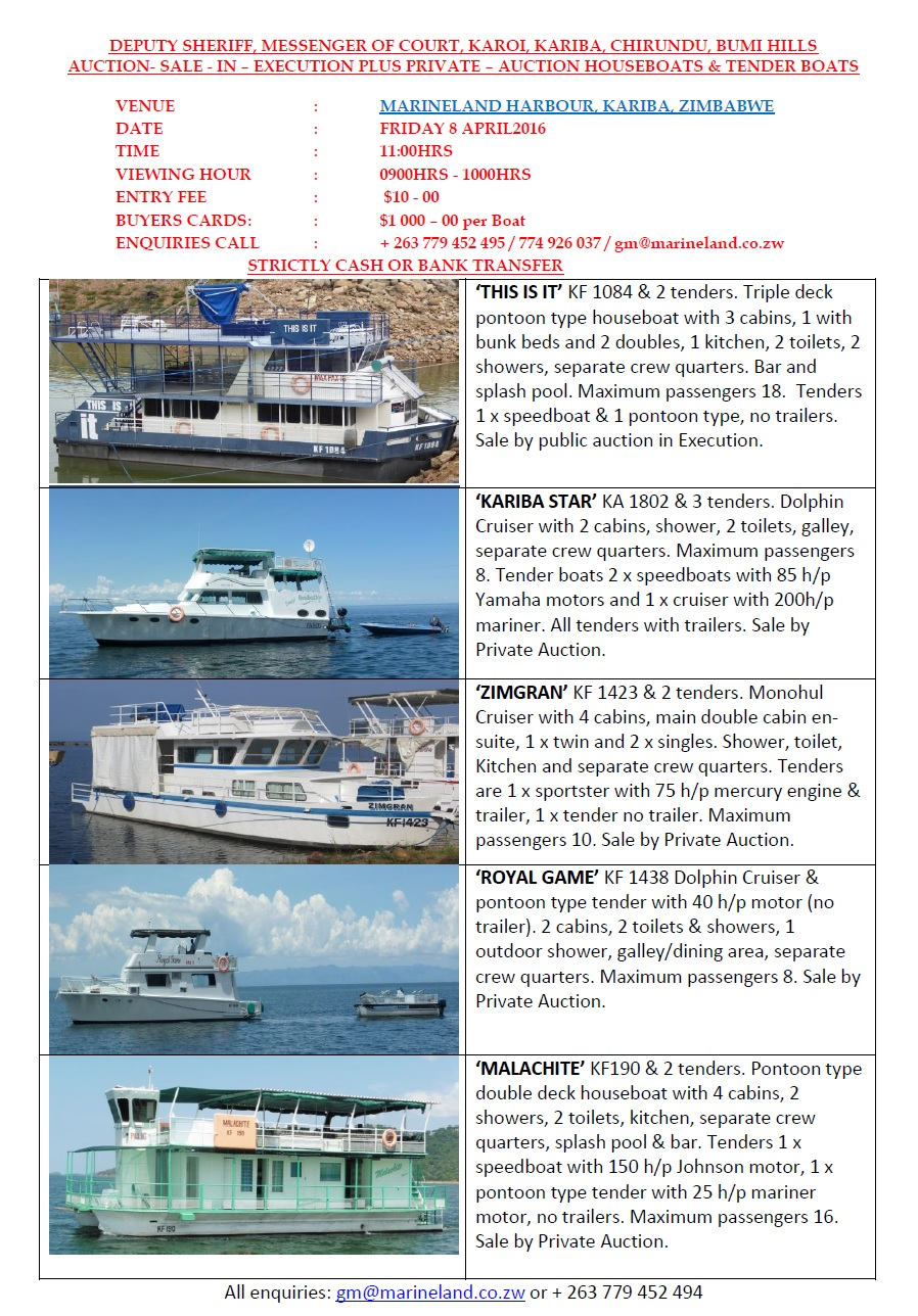 16 03 2016 - BOAT AUCTION » Ad-dicts Ads! Zambia - In your