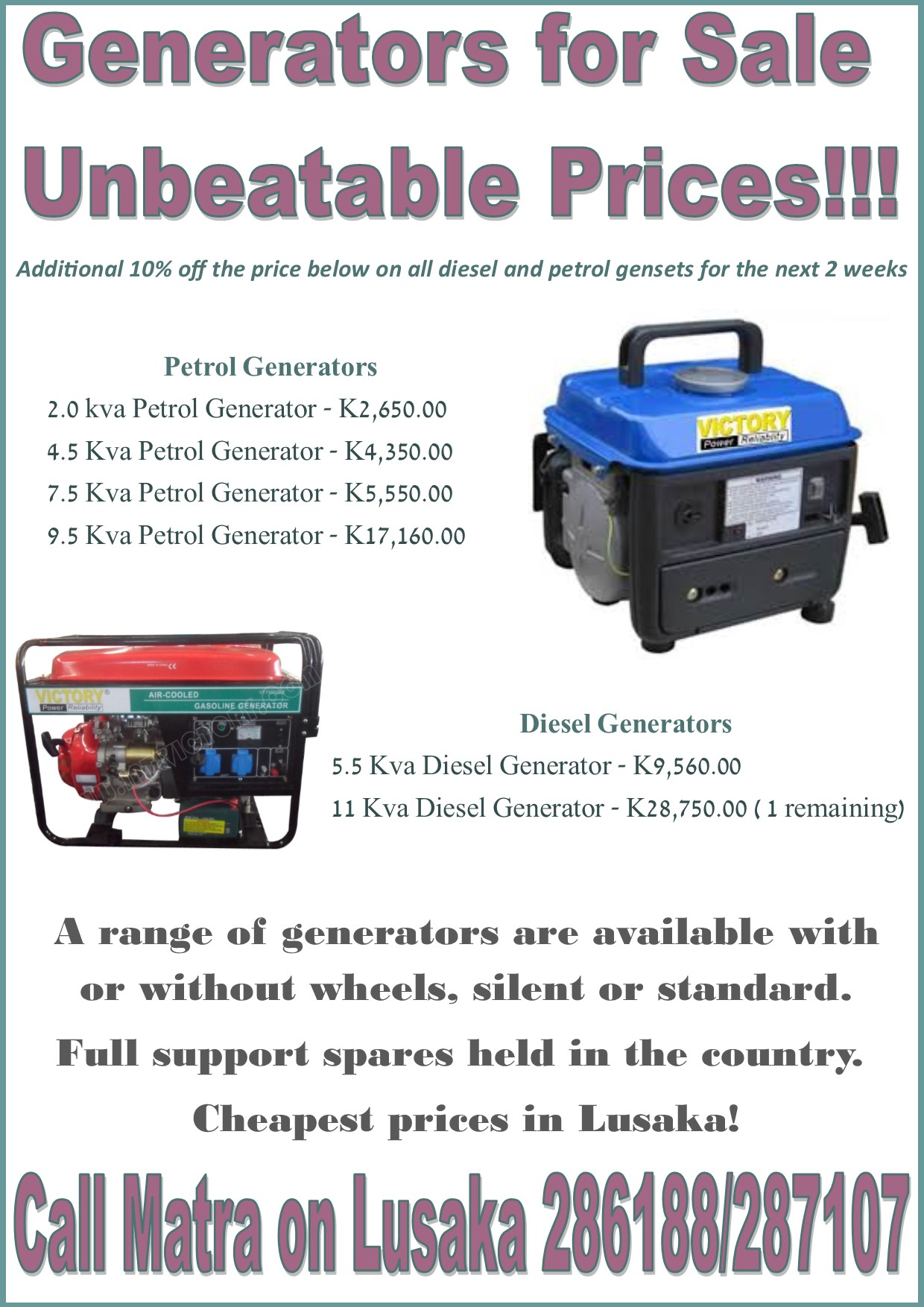 08 06 2016 GENERATORS FOR SALE – UNBEATABLE PRICES Ad dicts