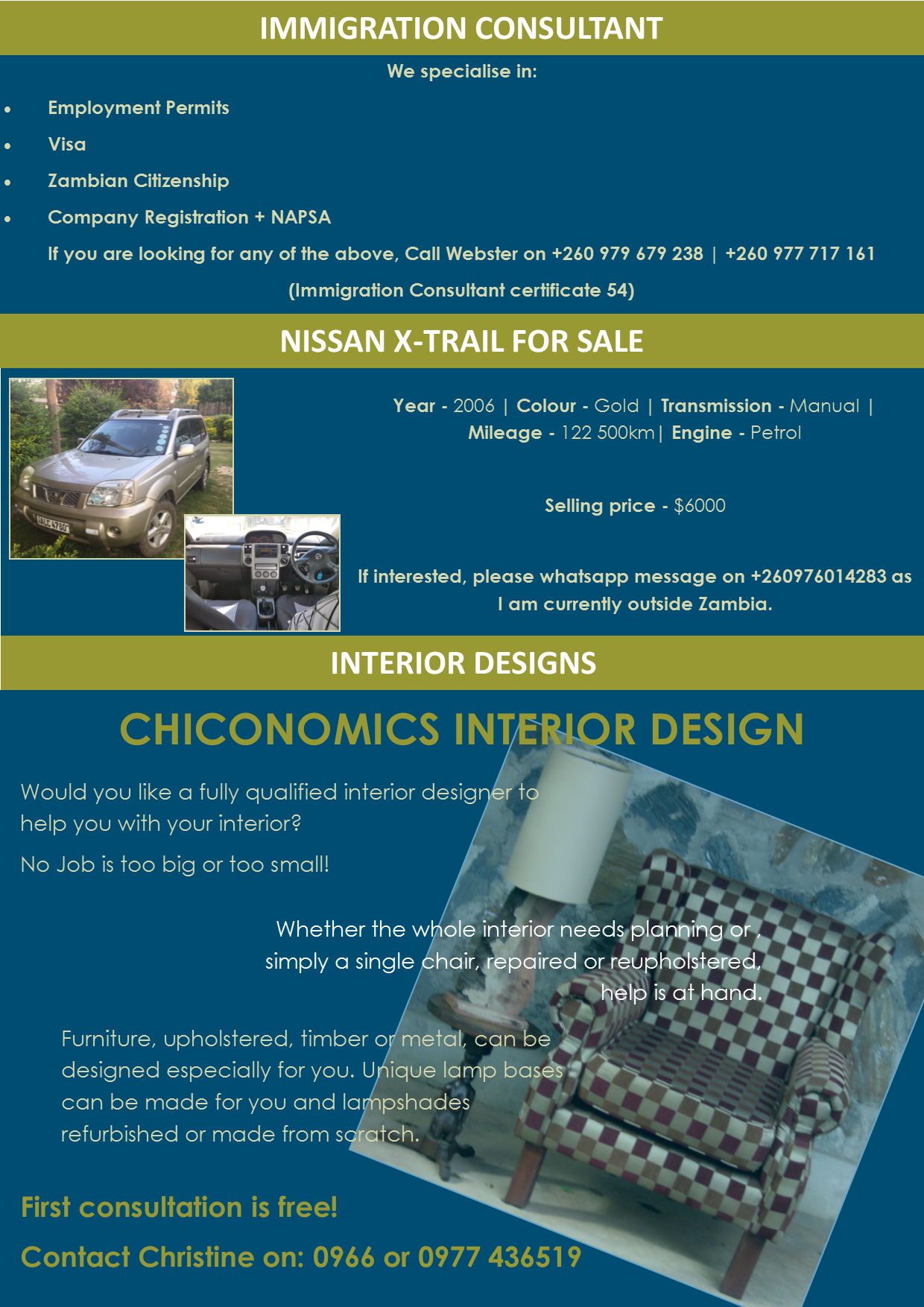 Immigration consultant nissan x trail for for Interior design consultant jobs