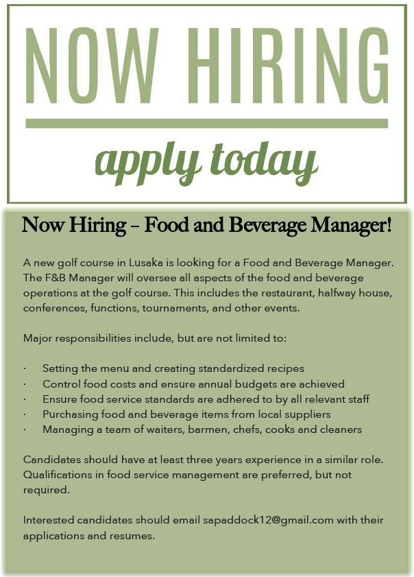 07 06 2017 Now Hiring Food And Beverage Manager 187 Ad