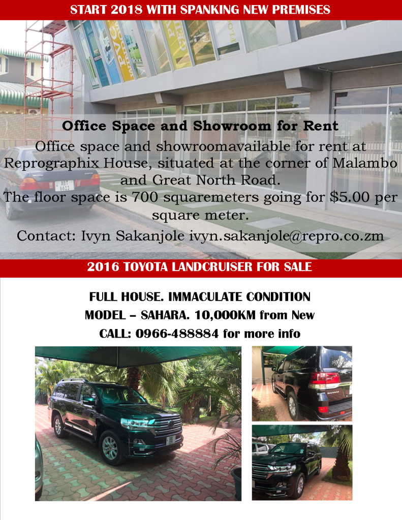 11.12.2017 – START THE NEW YEAR WITH SPANKING NEW PREMISES / 2016 TOYOTA LANDCRUISER FOR SALE