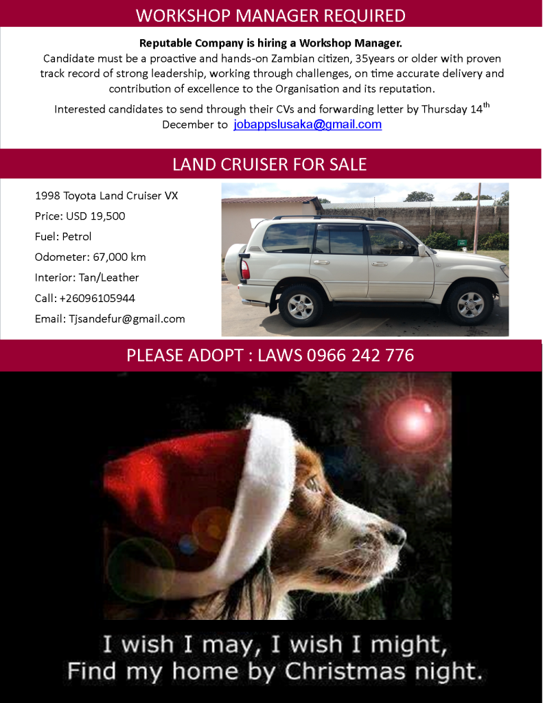12.12.2017 - WORKSHOP MANAGER REQUIRED. LAND CRUISER FOR SALE. ADOPT