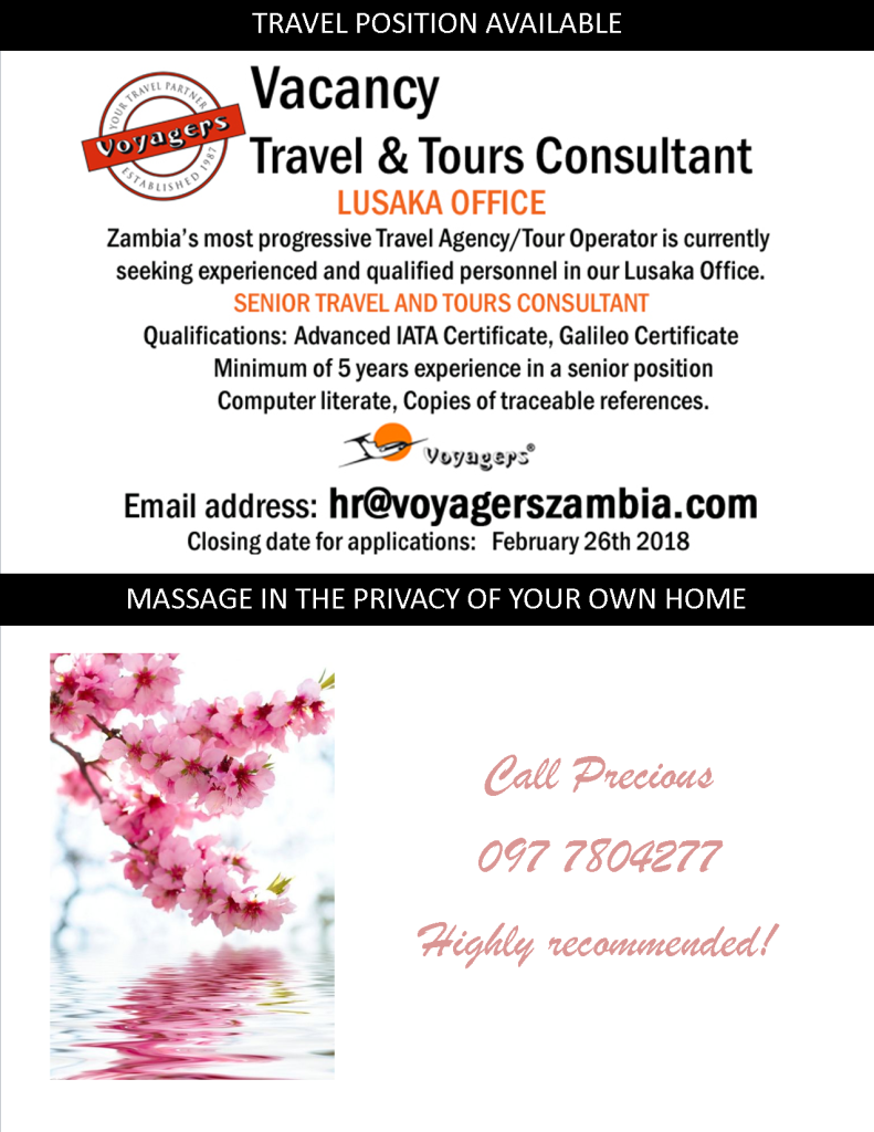 21.02.2018 – TRAVEL POSITION VACANCY / MASSAGE IN THE PRIVACY OF YOUR OWN HOME