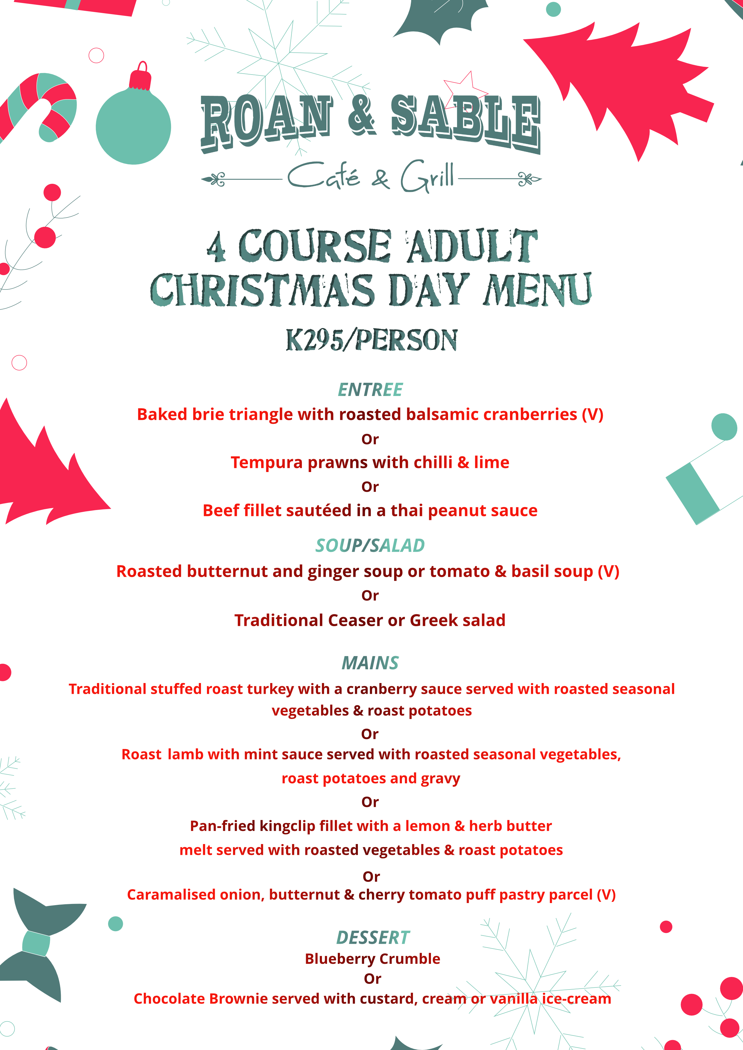 10 12 2018 Christmas Day Menus For Adults Amp Kids At Roan